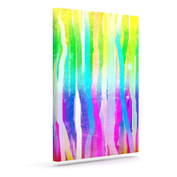 """Frederic Levy-Hadida """"Jungle Stripes Pastel"""" Multicolor Painting Canvas Art"""