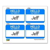 Jeff Hello My Name Is - Sheet of 4 Stickers