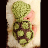 Baby Girl Boy Infant Crochet Knitted Turtle Beanie Hat Outfit. Party Costume. Photo Props Green