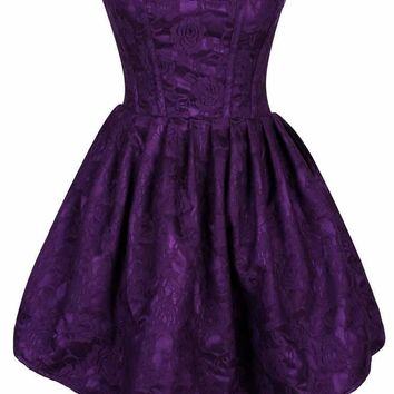 Daisy Corsets Female Plus Size  Steel Boned Plum Lace Empire Waist Corset Dress TD-593_Plus