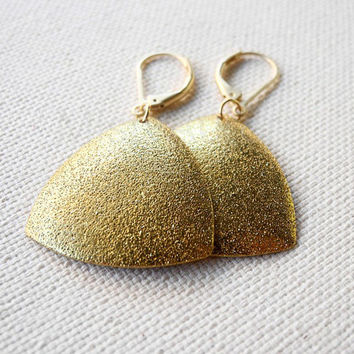 Triangle Dangle Earrings - Sparkly Brass Dangle Earrings - Glittery Jewelry - Gold Tone Brass Dangle Earrings