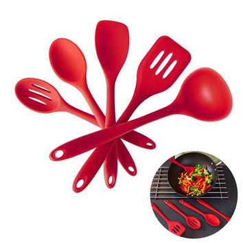 5 Pieces Cooking Utensil Set Spatula, Spoon, Ladle, Spaghetti Server, Slotted Turner. Cooking Tools,Silicone Kitchen Utensils
