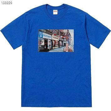 Supreme 2018 Summer New Street View Architecture Grocery Print Short Sleeve T-Shirt F-AG-CLWM Blue