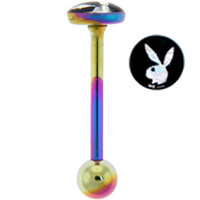 Playboy Rainbow TITANIUM Silver RABBIT HEAD FOIL Barbell | Body Candy Body Jewelry