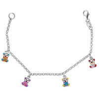 Baby Bracelet With Colorful Dangling Teddy Bear Charms In Sterling Silver - 6 Inches