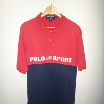 New Year Sale Vintage Polo Sport US Flag Polo Ralph Lauren 1990s Spell Out Streetwear 90's Polo Rugby Shirt Hip Hop Size L
