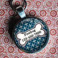 Pet iD Tag deep marine blue patterned colorful round Dog Tag 35mm round -  by California Mutts