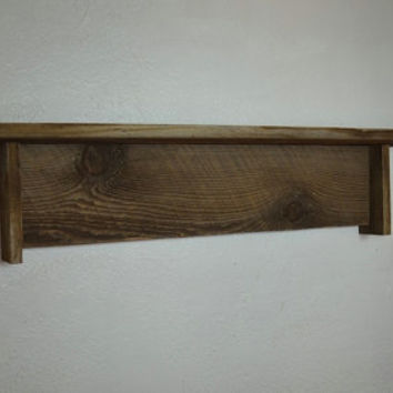 Knotty small wall shelf 30 wide 5 deep bold wood grain