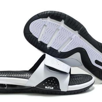 PEAPGE2 Beauty Ticks Nike Air Lebron Slide White/black Casual Sandals Slipper Shoes Size Us 7-11
