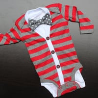 Cardigan and Bow Tie Onesuit Set - Red Stripes with Grey Polka Dot Bow Tie