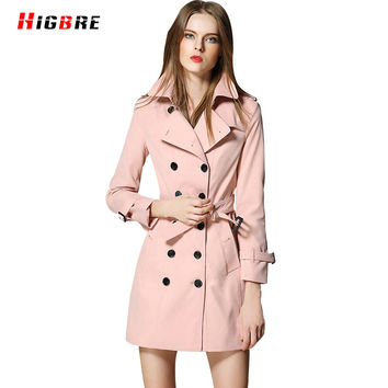 High Quality Trench Coat Women 2017 British Style Double Breasted Coat Design Trench Outerwear Winter Elegant Female Overcoat