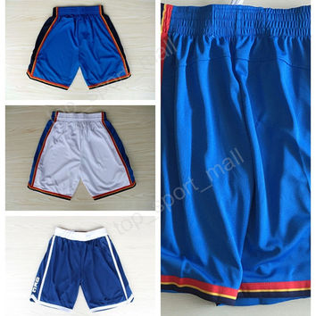 2017 Basketball Shorts Men Oklahoma City 0 Russell Westbrook Short Pant Breathable Throwback Sportswear Team Blue Alternate White