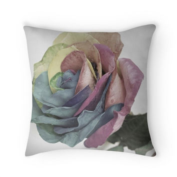 Square throw pillow Indoor pillow Rainbow rose pillow Edited picture of rainbow rose with LOMO effect