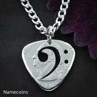 Bass Clef, guitar Pick Necklace, cut and burnished from quarter, hand cut coin