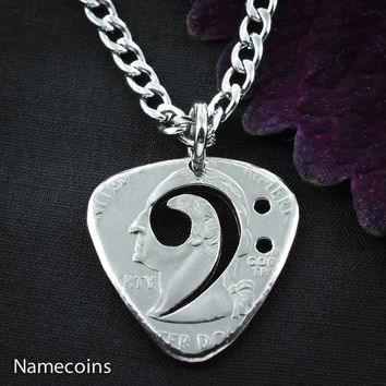 Bass Clef, guitar Pick Necklace, cut and burnished from quarter, hand cut coin by NameCoins