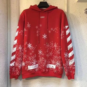 """OFF-WHITE"" Unisex Casual Fashion Snowflake Stripe Arrow Pattern Long Sleeve Hooded Sweater Couple Pullover Sweatshirt Tops"