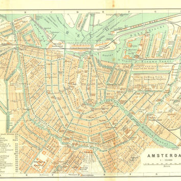 1910 Amsterdam City Map Street Plan Netherlands Lithograph