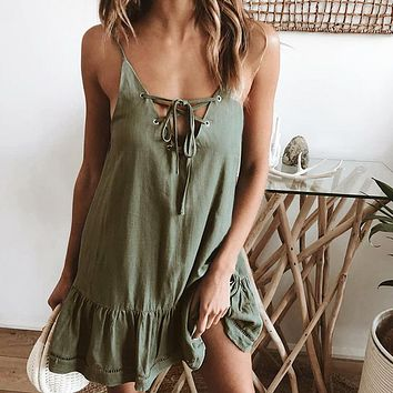 Summer Popular Women Sexy Lace-Up Bowknot Pleated Dress Army Green
