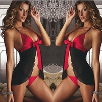 New sexy lingerie female charm of midnight transparent breathable sexy pajamas nightclub underwear erotic lingerie costumes (Color: Black) [8824275399]