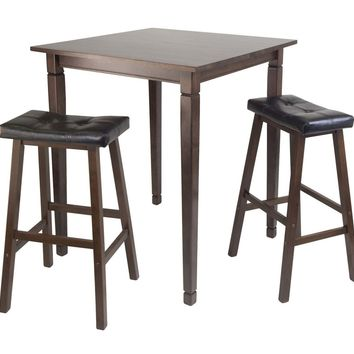 Kingsgate High/Pub 3pc Dining Table with Cushioned Saddle Stool by Winsome Woods