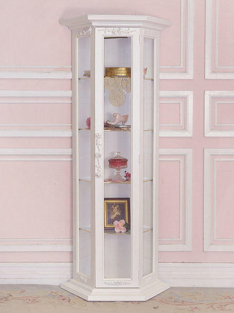 8404 lovely shabby white curio cabinet from the bella