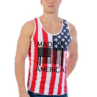 Made in america Barcode USA flag shirt Men's Jersy Tanktop