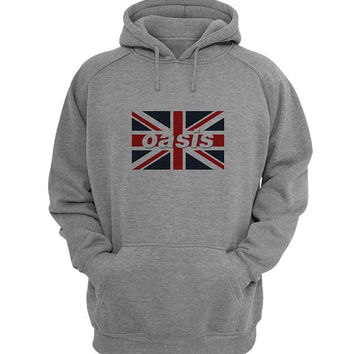 oasis flag Hoodie Sweatshirt Sweater Shirt Gray for Unisex size with variant colour