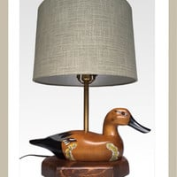 Vintage Duck Decoy Table Lamp With Shade / Handmade / Gift For Him / Hunting Decor/ Man Cave/ Traditional Style Duck Lamp