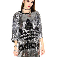 SEQUIN LEAF JERSEY DRESS