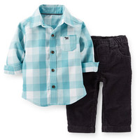 2-Piece Flannel Top & Corduroy Pant Set