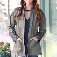 Studded Out Embroidered Jacket {Olive}