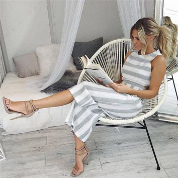 Striped jumpsuit Rompers 2017 Women Linen cotton overalls Ladies casual loose calf length wide leg pants Jumpsuits cut-out waist