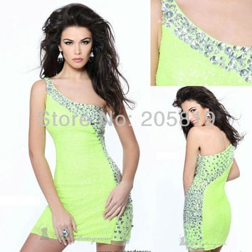 Aliexpress.com : Buy 2013 New Arrival One Shoulder Crystals Beading Green Prom Cocktail Short Gown, IWD21138 from Reliable sexy  cocktail dress suppliers on iWeddingDressesShop