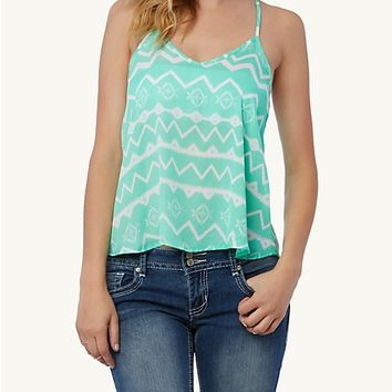 Lattice Crochet Back Tribal Chevron Tank | rue21