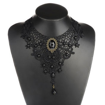 Vintage Black Lace&Beads Choker Victorian Steampunk Style Gothic Collar Necklace lahnborg (Size: 3) [8081685703]