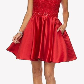 Red Cold Shoulder Homecoming Dress Embellished Waist Lace Top