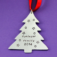 Personalized Christmas Tree Ornament - Handstamped Christmas Decoration