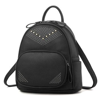 Cool Backpack school COOL WALKER Fashion Women Backpacks Small Rivet Pu Leather Student Backpack Preppy Style Backpack Girls Women's Bags Back Pack AT_52_3