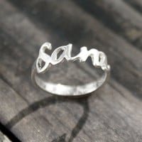 My name on a ring - Sterling Silver, handwritten sterling silver ring, midi ring