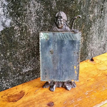 Antique Art Deco Figural Table Mirror Cast Metal Barbary Pirate Male Figural Frame