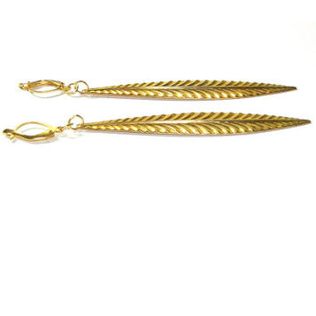 Brass Leaf Earrings, Boho Brass Earrings, Long Leaf Earrings, Gold Lever Ear Wires