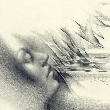 "Contemporary abstract pencil drawing, ""Breathe"", surrealism, paper, original"