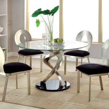 """Furniture of america CM3729T-3727-5PC 5 pc roxo modern style satin plated metal 48"""" round glass dining table set"""