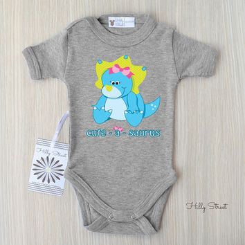 Cute - A - Saurus Baby Bodysuit. Dinosaur Baby Outfit. Adorable Baby Girl Clothes. Unique Baby Gifts. Dinosaur Themed Baby Shower.
