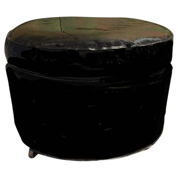 Pre-owned Mid-Century Patent Leather Ottoman On Casters