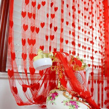 100*200cm  Home Romantic Heart Pattern Love Curtain Door Curtain Window Curtain For Bathroom home Decoration  1pc