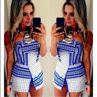 Women Autumn Wrapped Chest Sexy Printed Slim Dress = 1956713156