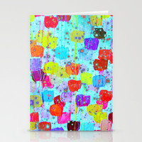 SPECKLE ME DOTTY - Bright Polka Dot Cheerful Aqua Turquoise Blue Rainbow Fine Art Abstract Painting Stationery Cards by EbiEmporium