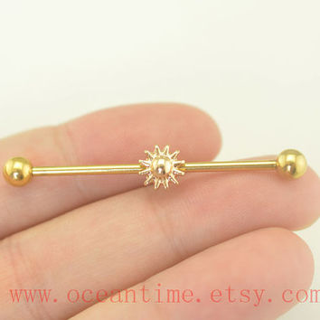Industrial barbell,sun industrial barbell ear piercing,Celestial earring piercing,friendship ear piercing,bff gift,oceantime