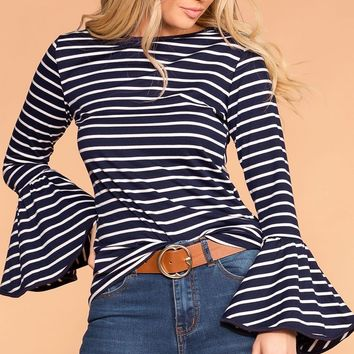Lyla Navy Stripe Top
